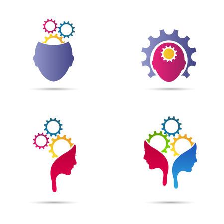pensador: Diseño de la mente del vector del engranaje representa el pensamiento creativo y diferente concepto de ideas de negocio.