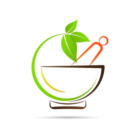 Diseño Mortero y maja vector representa la medicina a base de hierbas, logotipo de la farmacia, signos y símbolos.