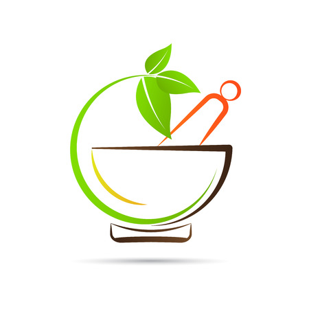 ayurveda: Mortar and pestle vector design represents herbal medicine, pharmacy logo, signs and symbols.
