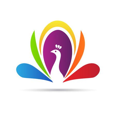 Diseño del pavo real abstracto del vector representa logotipo, signos y símbolos.