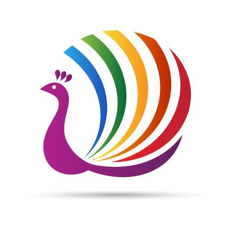 抽象的な孔雀のベクトルのデザインは、ロゴ、サインとシンボルを表します。
