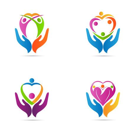 corazon: Personas vector diseño cuidado del corazón representa el concepto de familia el cuidado del corazón sano.