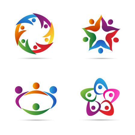 network logo: Abstract people vector design represents teamwork, diversity, signs and symbols. Illustration