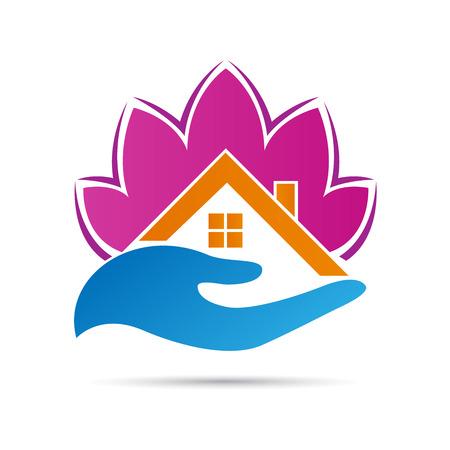Abstracte vastgoed logo vector ontwerp op een witte achtergrond. Stock Illustratie