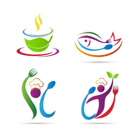logotipos de restaurantes: Diseño del vector del restaurante logotipo aislado en fondo blanco. Vectores