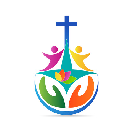 religion catolica: Iglesia de dise�o de logotipo vector representa el cristianismo s�mbolo organizaci�n. Vectores