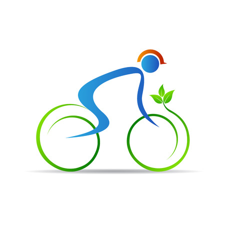 Eco cyclist vector design isolated on white background.
