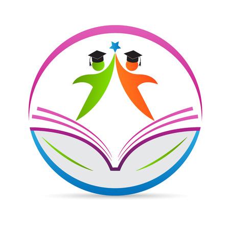 leggere libro: Istruzione logo disegno vettoriale rappresenta concetto emblema di scuola.