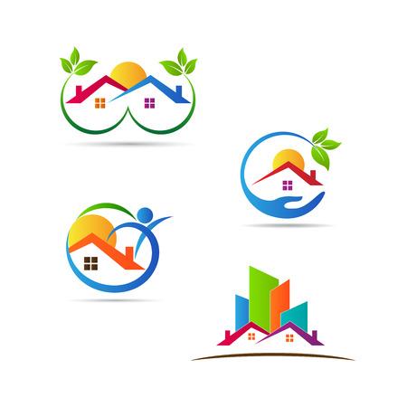 logotipo de construccion: Diseños Inicio logos vector representa la construcción, bienes raíces y el concepto de fitness. Vectores