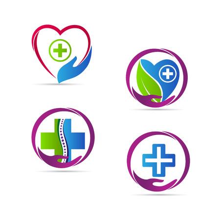 logo medicina: La atenci�n m�dica de los iconos de dise�o vectorial aislados en fondo blanco.