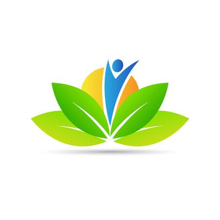 saludable logo: Diseño del logotipo del vector de bienestar representa el cuidado de la salud, la paz y el poder. Vectores