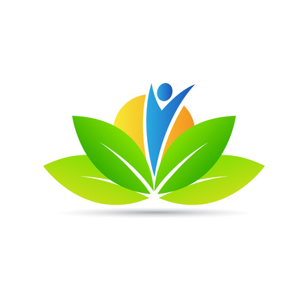Wellness logo vector design represents health care, peacefulness and power. Иллюстрация