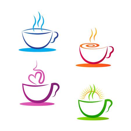 コーヒー カップ ベクター デザインは、白い背景で隔離。