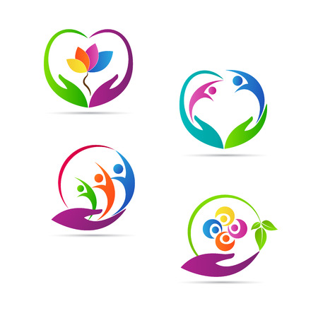 dad daughter: Care logos vector design represents family, child and senior care concept.