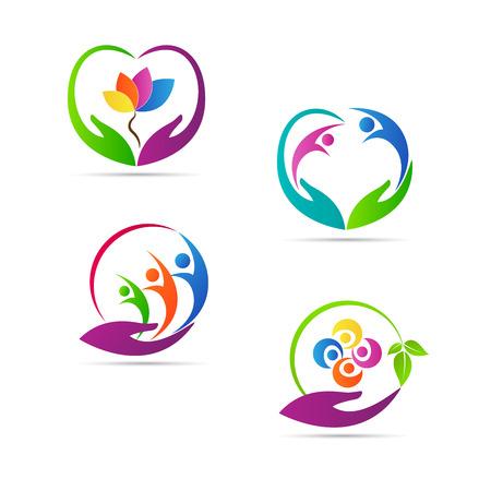 pflegeversicherung: Pflege Logos Vektor-Design stellt Familie, Kinder und ältere Pflegekonzept.