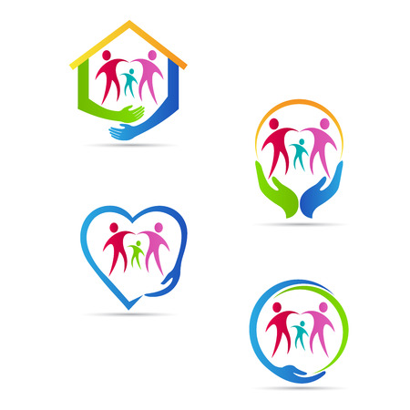 Care people logo vector design represents family, disabled, child, senior care concept.