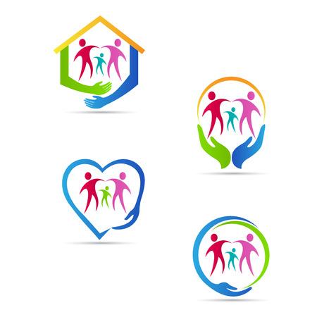 Entretien personnes conception de logo de vecteur représente la famille, les personnes handicapées, enfant, concept de soins aux personnes âgées.