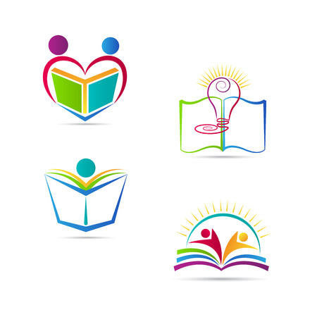 Education book logo vector design represents school, university and education emblem. Çizim