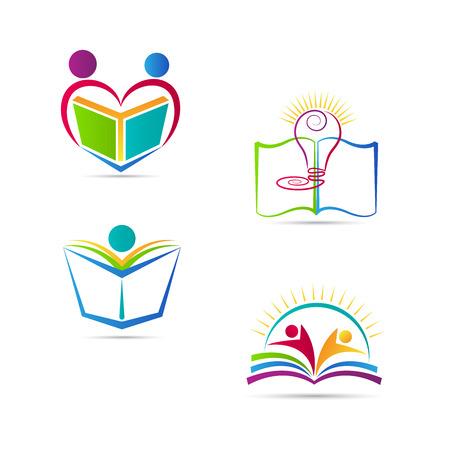 Onderwijs boek logo vector ontwerp vertegenwoordigt school, universiteit en onderwijs embleem. Stock Illustratie