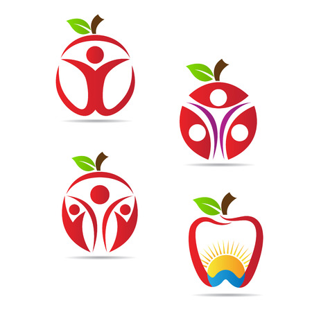 Fruits logo vector design isolated on white background. Vector