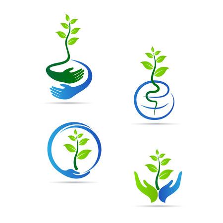 logo recyclage: Enregistrer dessin vectoriel vert repr�sente sauver la nature, �conomiser de monde et le concept de l'�cologie.