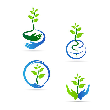 go green logo: Save green vector design represents save nature, save world and ecology concept.