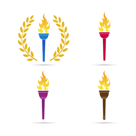 Torch vector design isolated on white background. Stock Illustratie