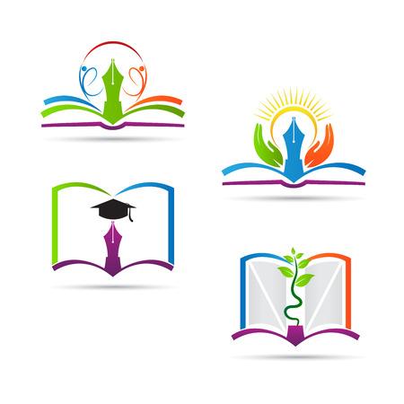 literatura: Educaci�n dise�o de libros vector representa la escuela, la educaci�n signo y s�mbolo. Vectores