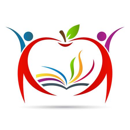 manzana caricatura: Educaci�n dise�o vectorial manzana representa el emblema concepto de la escuela, la educaci�n.