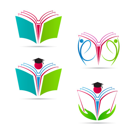 open magazine: Book logos vector design represents education concept.