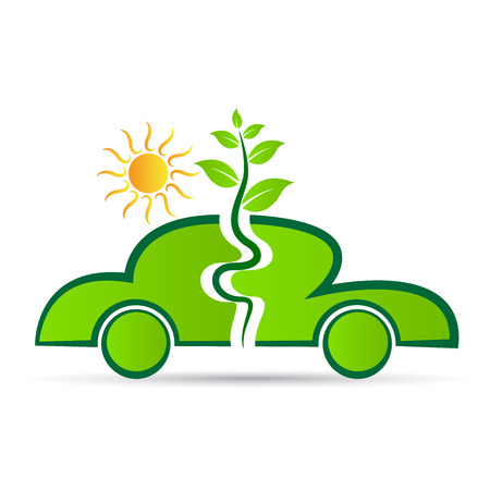エコロジー車ベクトル デザイン白い背景に分離されました。