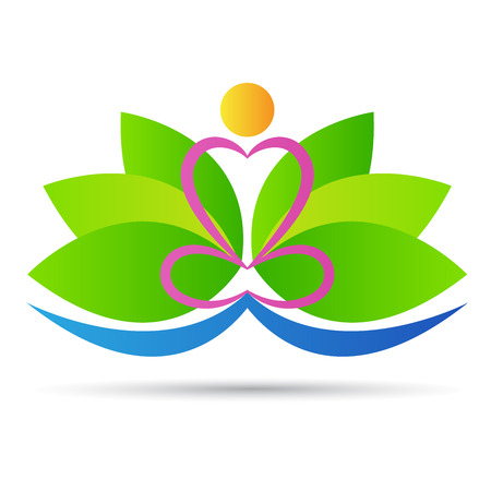 Lotus yoga vector design isolated on white background. Stock Illustratie