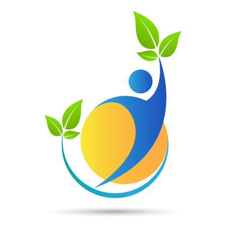 葉のベクター デザインを持つ人々 は、生態学の概念を表します。