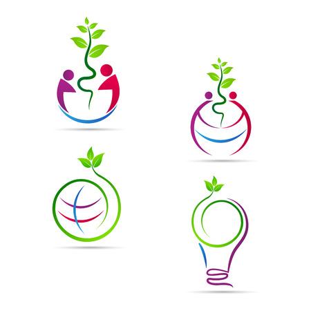 manos logo: Excepto la naturaleza del diseño del vector representa la ecología, eco naturaleza, guardar el concepto verde. Vectores