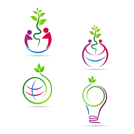 logo recyclage: Sauver la nature vecteur conception représente l'écologie, éco nature, save notion vert.