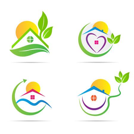 ecology background: Ecology home icons vector design isolated on white background. Illustration