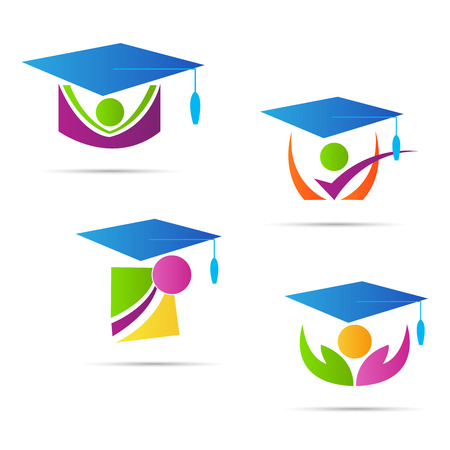 Graduation cap vector design isolated on white background.