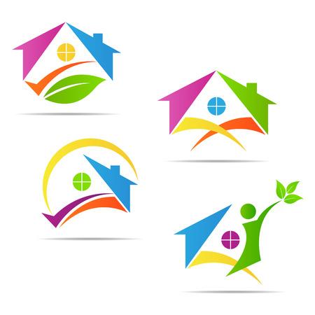 ホーム ベクター デザインは、不動産会社の看板とシンボルを表します。