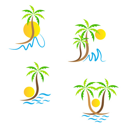 sunset tree: Tropical island tree vector design represents tours and travel sign and symbol.