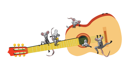 Mouse and Guitar, vector illustration Illustration
