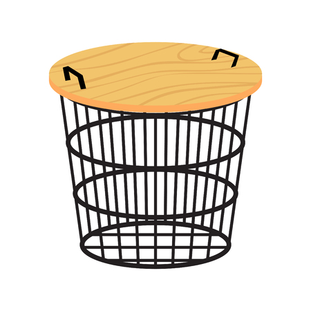 Metal basket table with wood top doubles