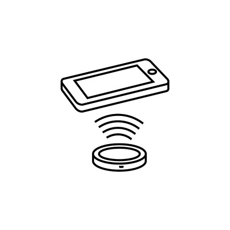 Wireless charger icon with a phone vector illustration. Иллюстрация