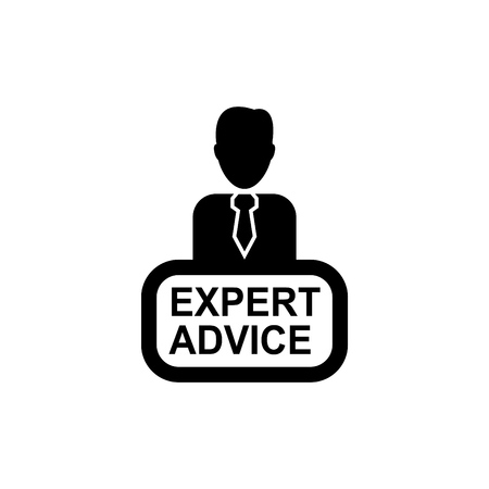 Illustration of a person icon with text expert advice