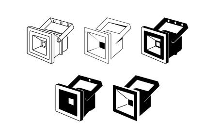 Led floodlight icon - vector illustration.