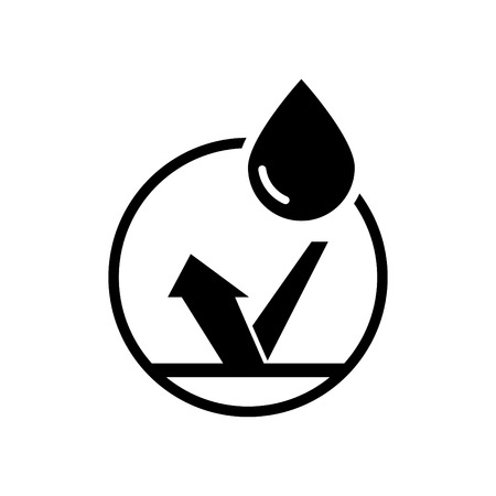 Waterproof icon, water protection label sticker logo Vector illustration.