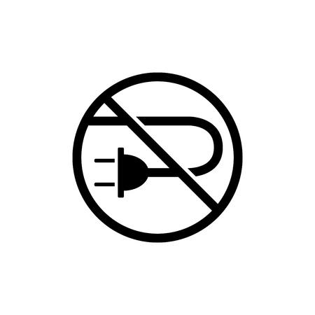 no cable icon, No plug icon - vector illustration.
