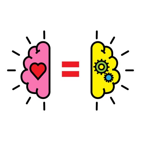 Equilibrio entre la lógica y la emoción ilustración vectorial