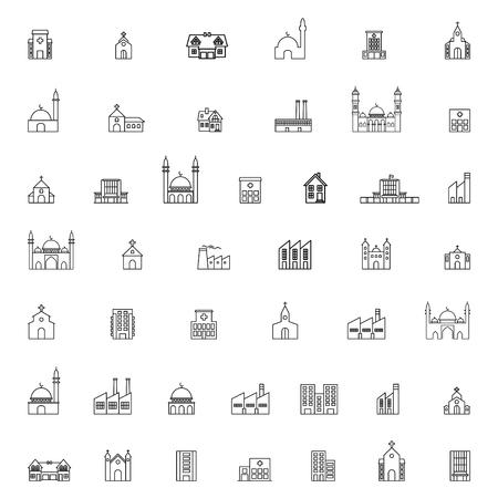 building icons set Ilustrace