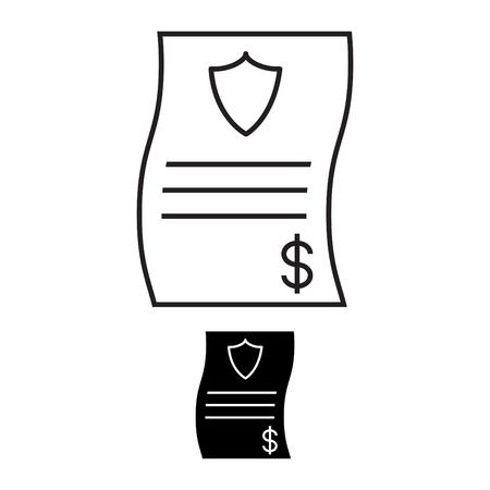 Bill with shield icon Ilustrace