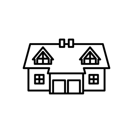 Semi-detached house icon Stock Illustratie